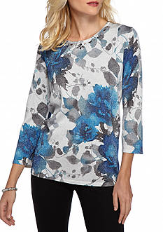 Alfred Dunner Petite Crescent City Floral Shimmer Sweater