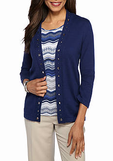 Alfred Dunner Petite Crescent City Biadere 2Fer Sweater