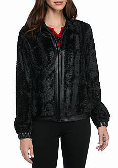 Alfred Dunner Wrap Fur Jacket with Leather Trim