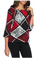 Alfred Dunner Wrap It Up Animal Colorblock Knit