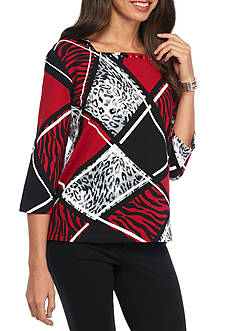 Alfred Dunner Wrap It Up Animal Colorblock Knit Top