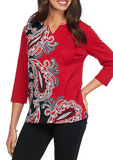 Alfred Dunner Wrap It Up Asymmetrical Paisley Knit Top