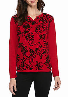 Alfred Dunner Wrap Flocked Leaf Sweater