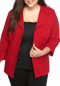Alfred Dunner Plus Size Wrap It Up Boucle Glitter Jacket