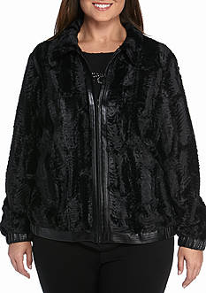 Alfred Dunner Plus Size Wrap It Up Faux Fur with Leather Detail Jacket
