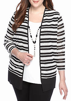 Alfred Dunner Plus Size Wrap It Up Stripe 2Fer