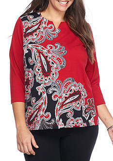 Alfred Dunner Plus Size Wrap It Up Asymmetrical Paisley Knit Top