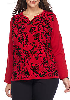 Alfred Dunner Plus Size Wrap it Up Flocked Leaf Top