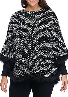 Alfred Dunner Plus Size Fur Trim Poncho