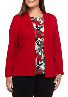 Alfred Dunner Plus Size Twilight Point Floral Texture 2-Fer