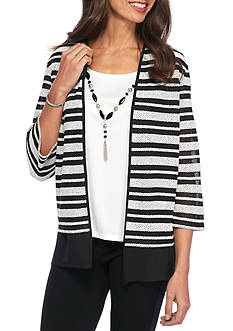 Alfred Dunner Petite Wrap It Up Stripe 2Fer Knit Top