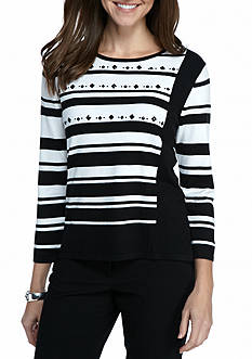 Alfred Dunner Petite Wrap It Up Diagonal Stripe Sweater