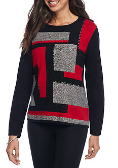 Alfred Dunner Petite Wrap It Up Colorblock Sweater