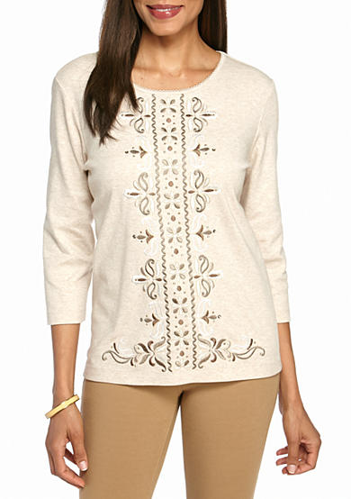 Alfred Dunner Twilight Point Center Scroll Knit Top
