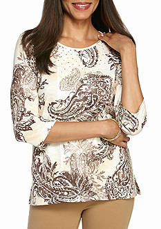 Alfred Dunner Twilight Point Paisley Tunic