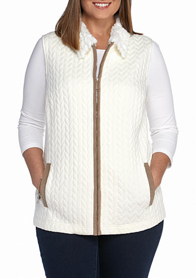 Alfred Dunner Twilight Point Knit Jacquard Vest