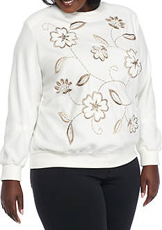 Alfred Dunner Plus Size Twilight Point Embroidered Flower Sweater