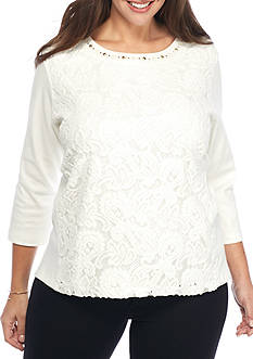 Alfred Dunner Plus Size Twilight Point Solid Lace Texture Knit Top