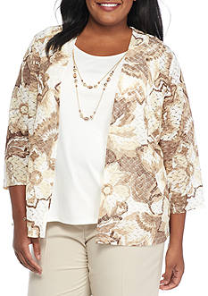 Alfred Dunner Plus Size Twilight Point Abstract Floral 2Fer