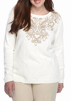 Alfred Dunner Plus Size Twilight Point Embroidered Yoke Knit Top