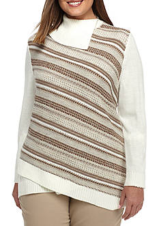 Alfred Dunner Plus Size Twilight Point Diagonal Texture Stripe