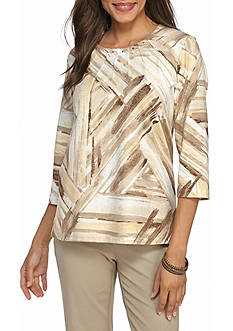 Alfred Dunner Petite Twighlight Point Brushstroke Spliced Knit Top