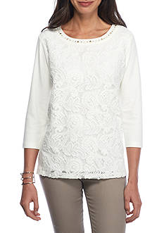 Alfred Dunner Twilight Point Solid Lace Knit Top