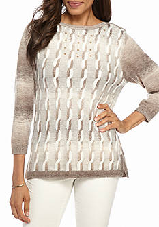 Alfred Dunner Petite Twilight Point Space Dye Cable Knit Sweater