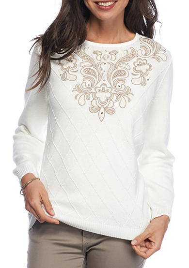 Alfred Dunner Petite Twilight Point Embellished Yoke Sweater