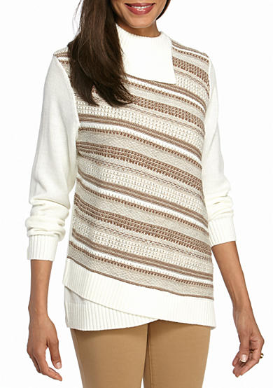 Alfred Dunner Petite Twilight Point Diagonal Texture Knit Top