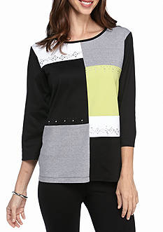 Alfred Dunner Casual Friday Color Block Knit Top