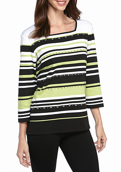 Alfred Dunner Casual Friday Multi Stripe Knit Top
