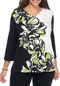 Alfred Dunner Plus Size Casual Friday Asymmetrical Floral Knit Top