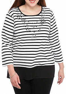 Alfred Dunner Casual Friday Stripe Top with Necklace