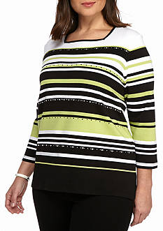 Alfred Dunner Plus Size Casual Friday Multi Stripe Tunic
