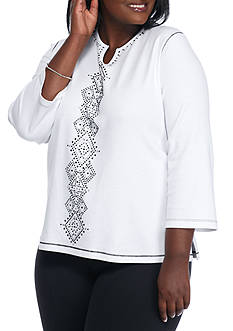 Alfred Dunner Plus Size Casual Friday Center Diamond Top