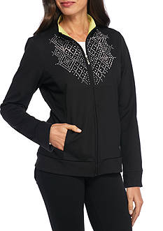 Alfred Dunner Petite Embroidered Diamond Jacket