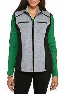 Alfred Dunner Petite Casual Friday Trimmed Vest