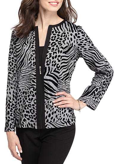 Alfred Dunner Petite Casual Friday Animal Print Jacket
