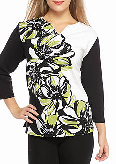Alfred Dunner Casual Friday Asymmetrical Floral Knit Top
