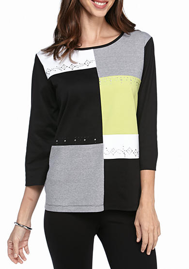 Alfred Dunner Casual Friday Colorblock Knit Top