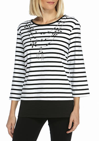 Alfred Dunner Casual Friday Stripe With Neck Knit