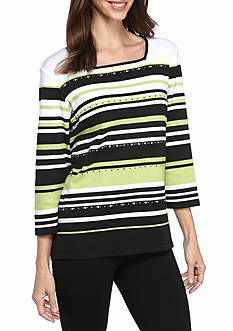 Alfred Dunner Petite Casual Friday Multi Stripe Knit Top