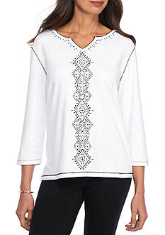 Alfred Dunner Petite Casual Friday Center Diamond Pullout Knit Top