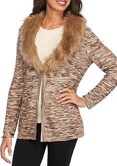Alfred Dunner Tis The Season With Faux Fur Collar
