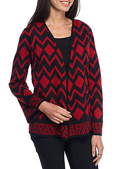 Alfred Dunner Tis the Season Patch Cardigan