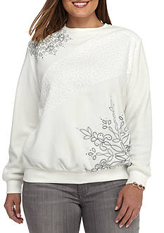 Alfred Dunner Plus Size Northern Lights Asymmetric Embroidery Top