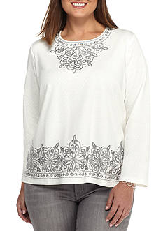 Alfred Dunner Plus Sized Scroll Embroidered Top