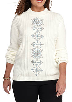 Alfred Dunner Women's Plus Long Sleeved Sweater