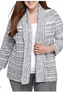 Alfred Dunner Plus Size Amazing Gray Pointelle